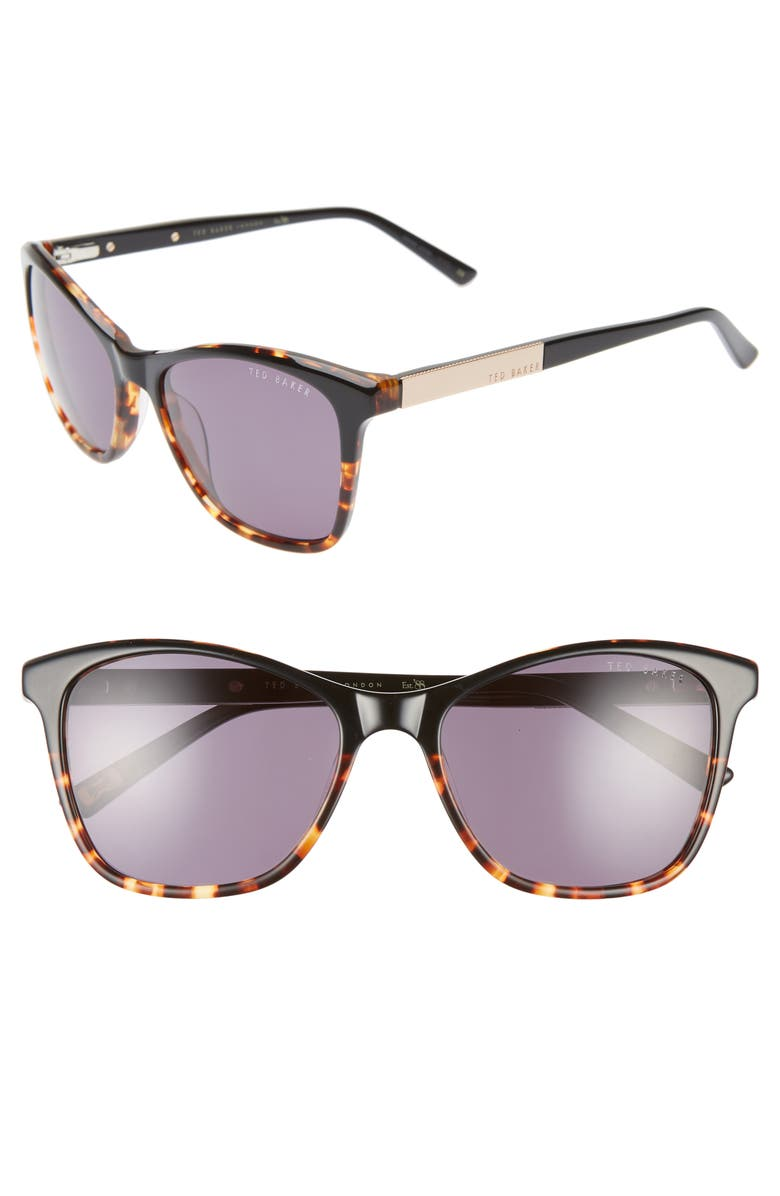 TED BAKER LONDON 55mm Square Cat Eye Sunglasses, Main, color, 001
