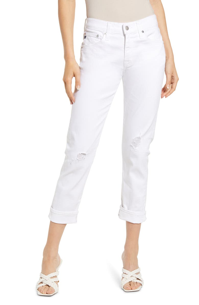 AG The Ex-Boyfriend Crop Slim Jeans, Main, color, 1 YEAR VIVID WHITE