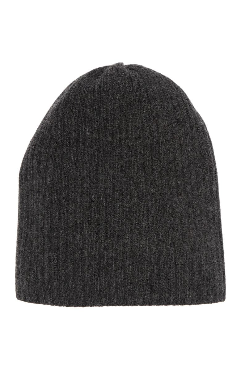 PORTOLANO Cashmere Ribbed Knit Beanie, Main, color, H CHARCOAL