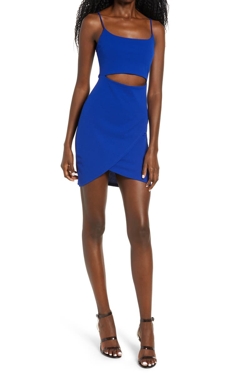LULUS Cutout on the Town Cutout Body-Con Minidress, Main, color, ROYAL BLUE