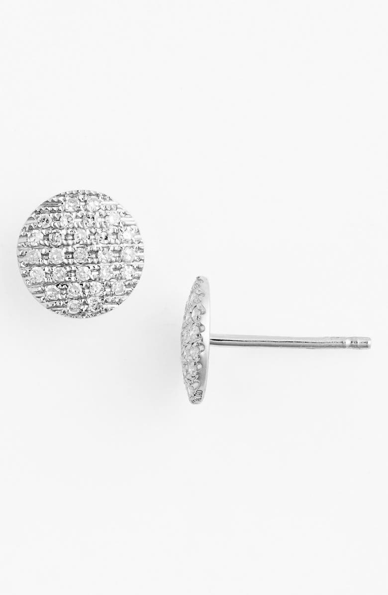 DANA REBECCA DESIGNS 'Lauren Joy' Diamond Disc Stud Earrings, Main, color, WHITE GOLD
