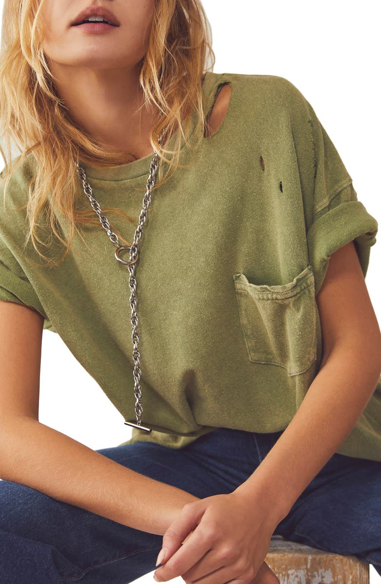FREE PEOPLE Rubi Ripped Pocket T-Shirt, Main, color, BLEACHED MILITARY