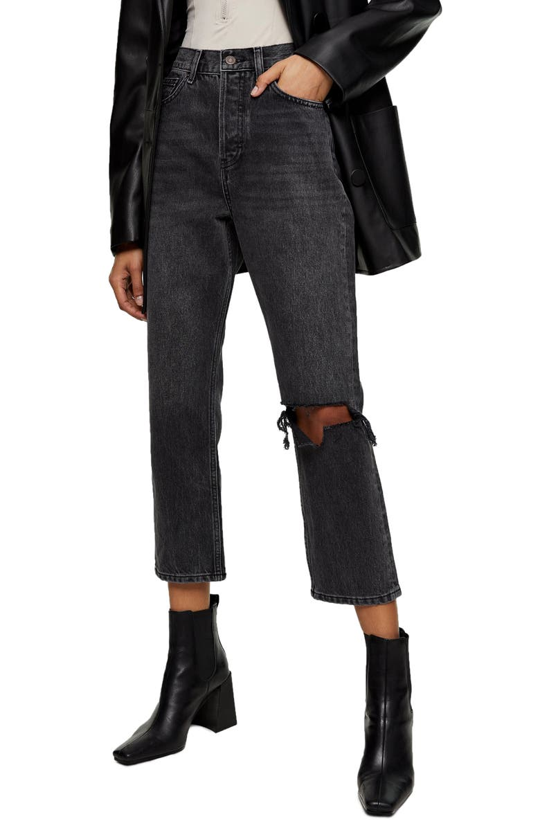 TOPSHOP Chicago Editor Nonstretch High Waist Ripped Crop Jeans, Main, color, BLACK