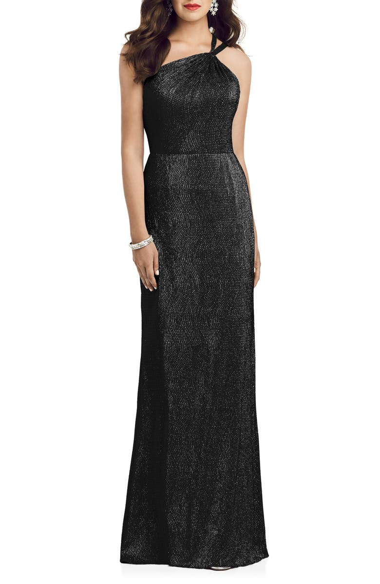 DESSY COLLECTION Soho Metallic One-Shoulder Gown, Main, color, BLACK