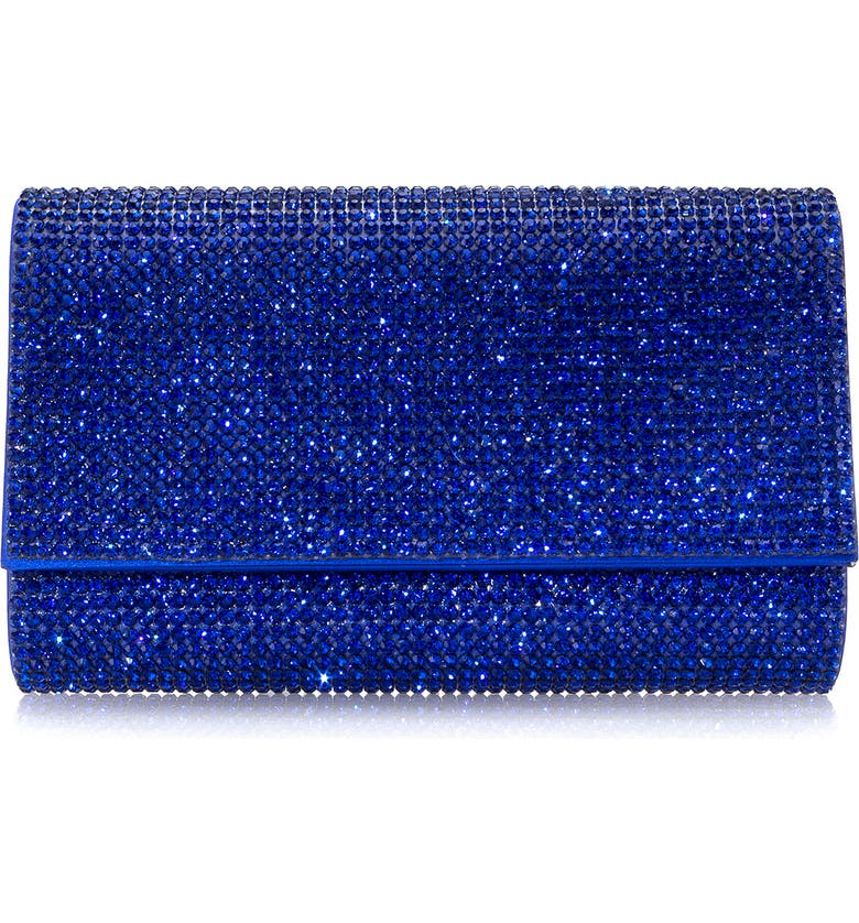 JUDITH LEIBER Couture Fizzy Beaded Clutch, Main, color, SILVER COBALT