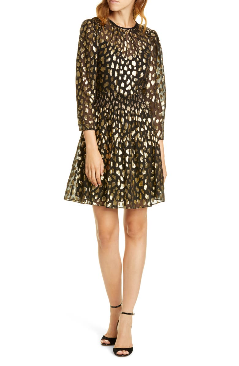 REBECCA TAYLOR Leopard Metallic Long Sleeve Dress, Main, color, 014