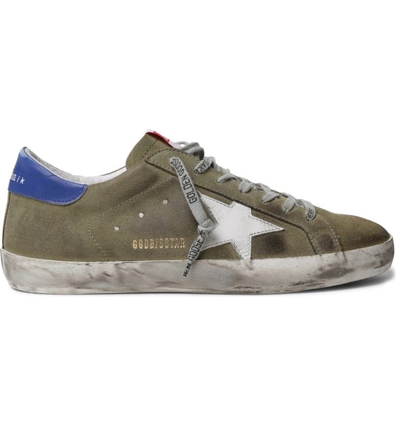 GOLDEN GOOSE Super-Star Sneaker, Main, color, WOOD GREEN/ WHITE/ BLUE