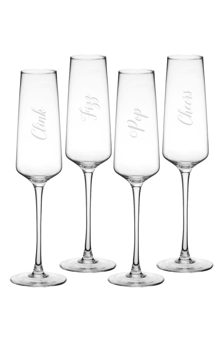 CATHY'S CONCEPTS Cheers Set of 4 Champagne Flutes, Main, color, CLEAR