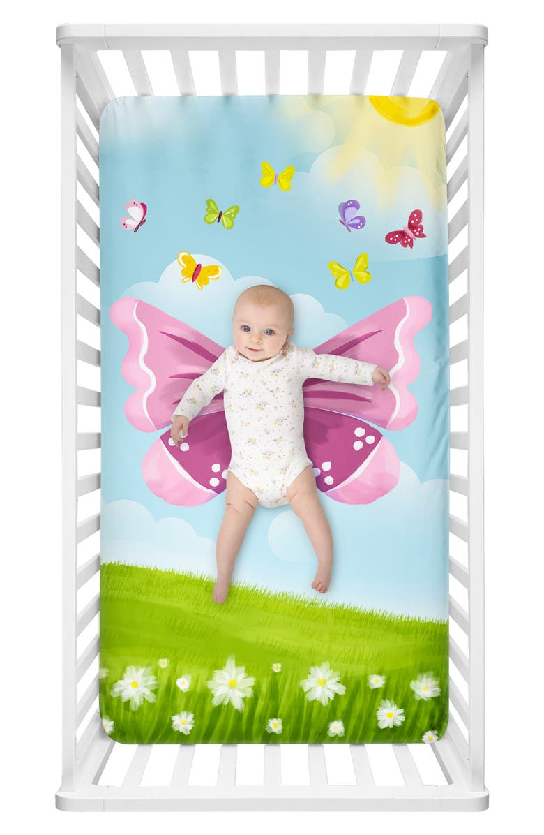 LUVSY Butterfly Print Fitted Crib Sheet, Main, color, 400