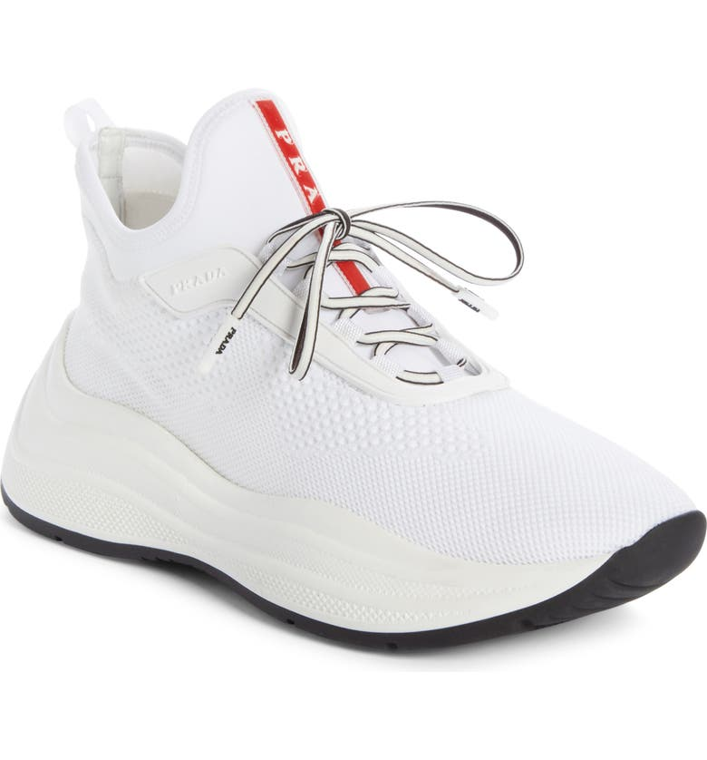 PRADA Knit Sock Sneaker, Main, color, WHITE