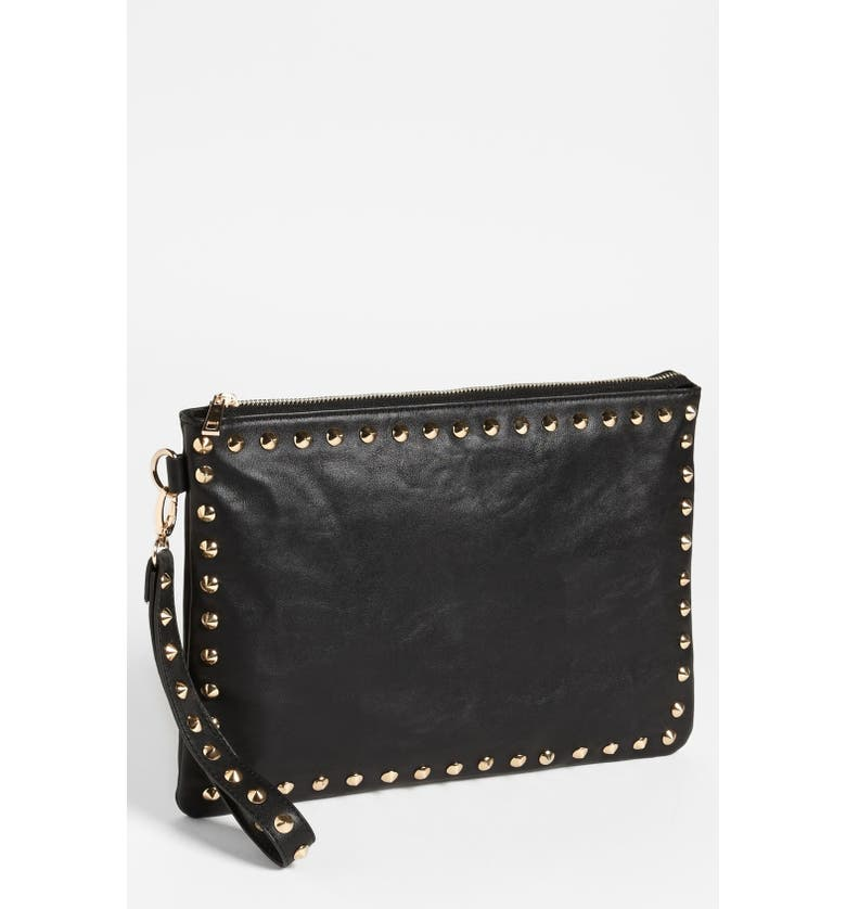EXPRESSIONS NYC Studded Faux Leather Clutch, Main, color, Black