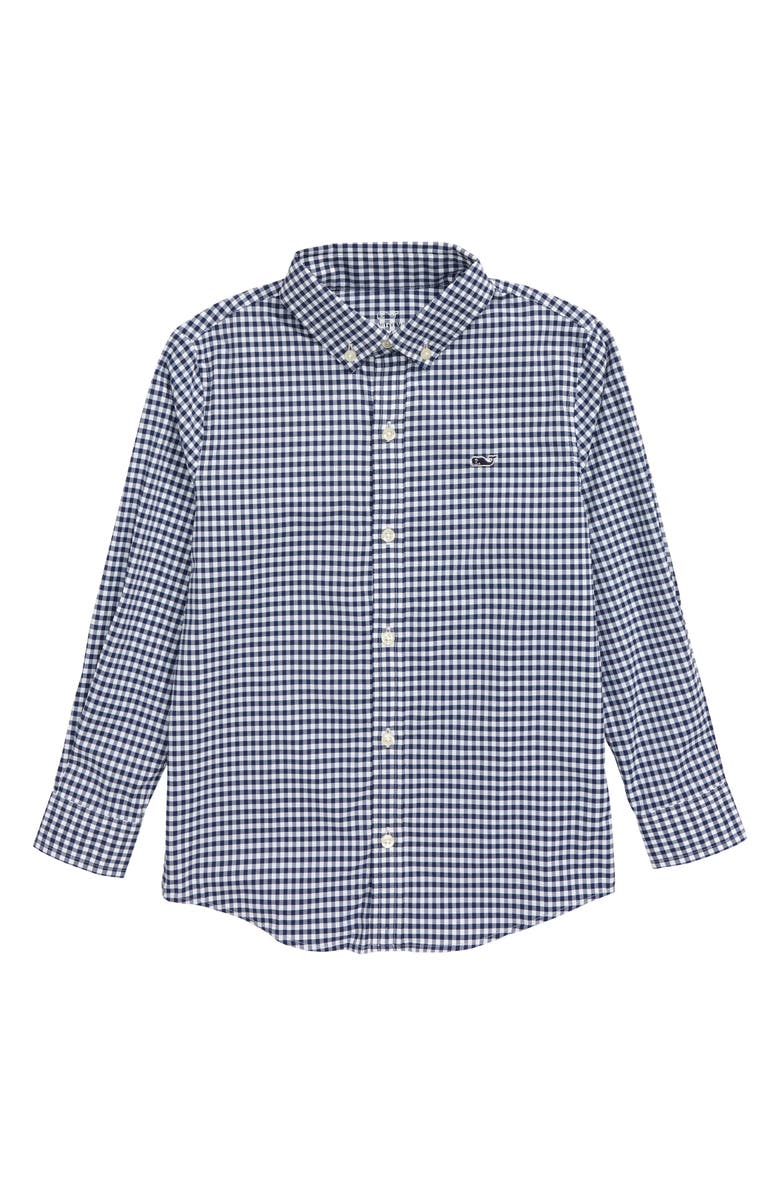 VINEYARD VINES Kids' Gingham Performance Whale Button-Down Shirt, Main, color, DEEP BAY