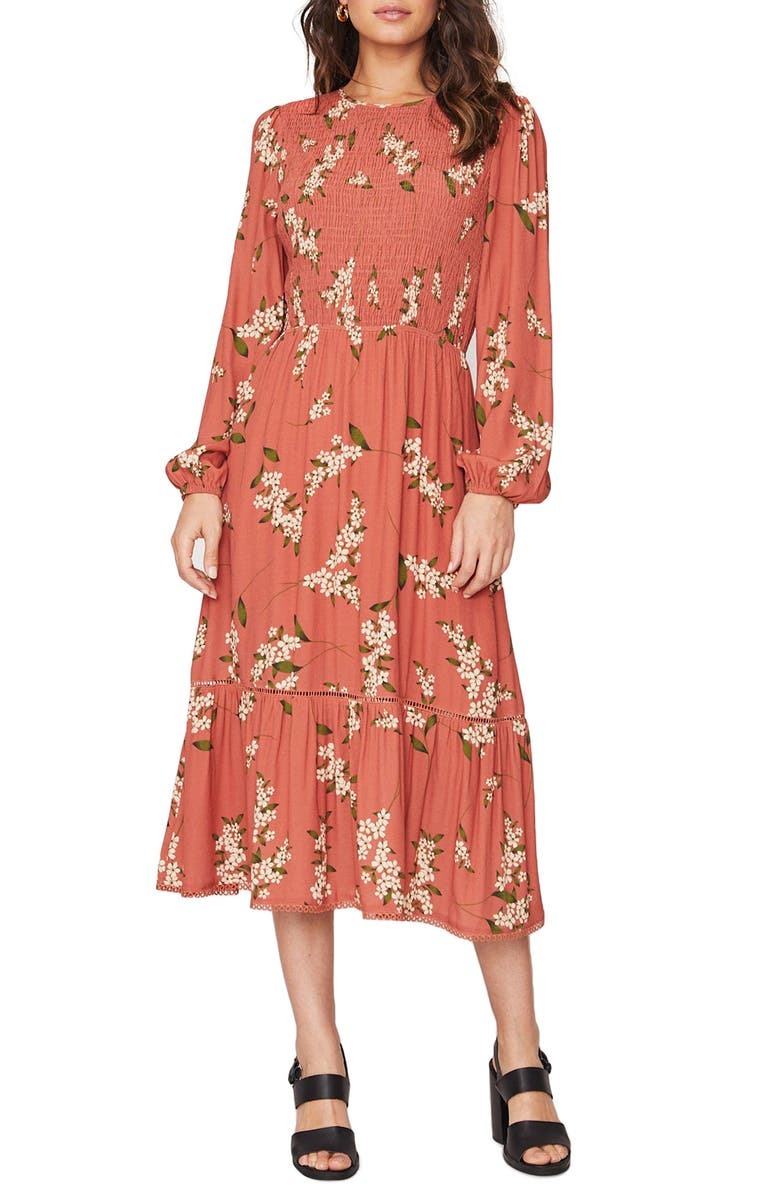 LOST + WANDER Champagne At the Palace Floral Smocked Long Sleeve Midi Dress, Main, color, AMBER MULTI