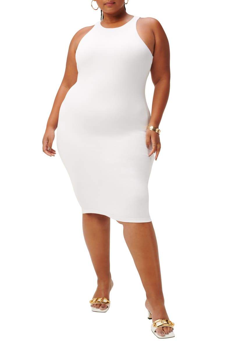 GOOD AMERICAN The Body Sculpted Dress, Main, color, WHITE001