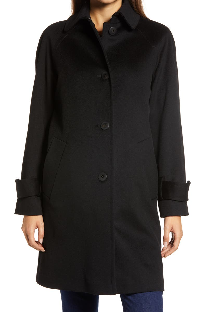 FLEURETTE Wool Raglan Sleeve Coat, Main, color, BLACK