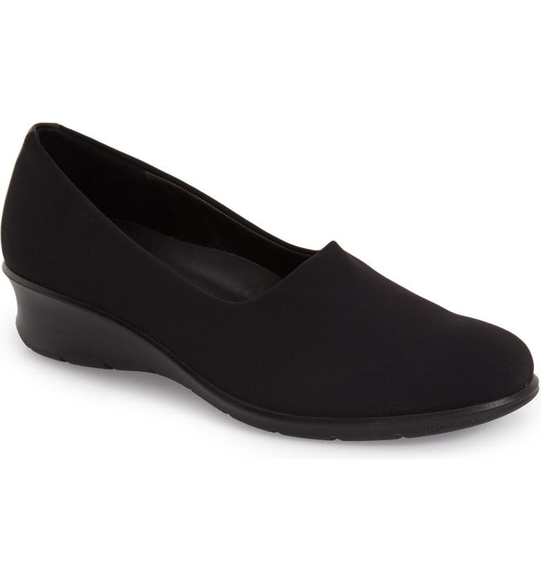 ECCO 'Felicia - Stretch' Wedge Loafer, Main, color, BLACK LEATHER