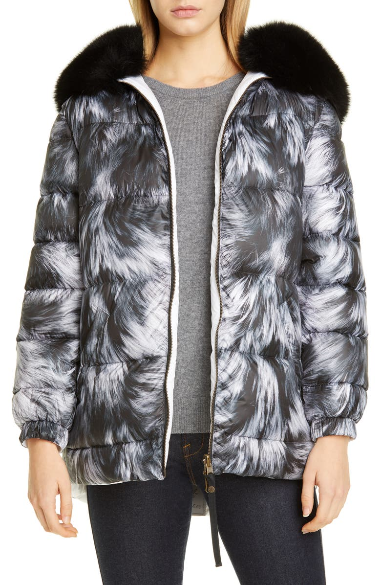 MR & MRS ITALY Reversible Fur Print Down Puffer Coat with Removable Genuine Fox Fur Trim, Main, color, 001