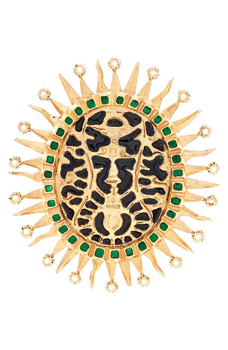 OSCAR DE LA RENTA Runway Medallion Brooch, Main, color, 001
