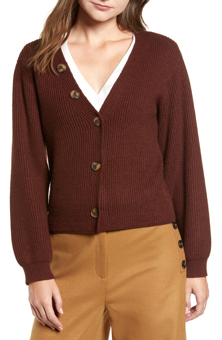 CHRISELLE LIM COLLECTION Chriselle Lim Cleo Button Detail Cardigan, Main, color, COCOA