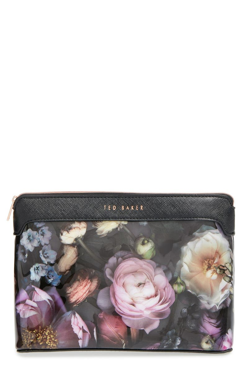 TED BAKER LONDON 'Large Shadow Flora' Cosmetics Case, Main, color, 020