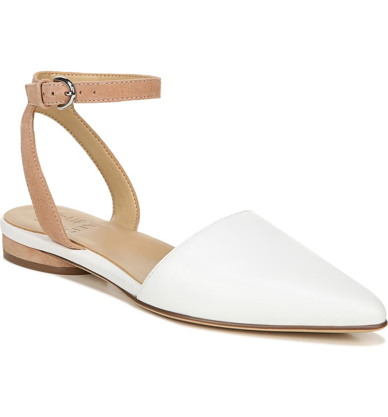 NATURALIZER Hartley Ankle Strap Sandal, Main, color, WHITE/ NUDE LEATHER