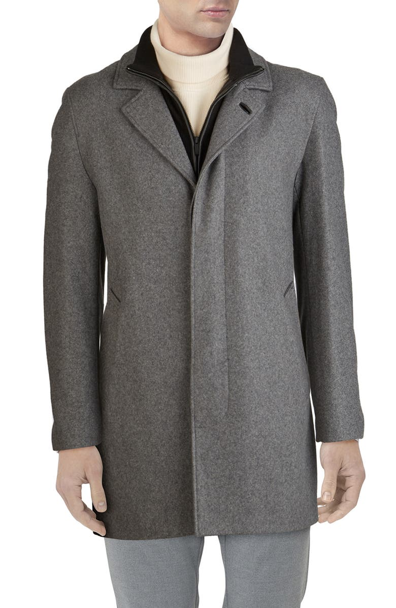 COLE HAAN Wool Blend Topcoat with Inset Knit Bib, Main, color, 033