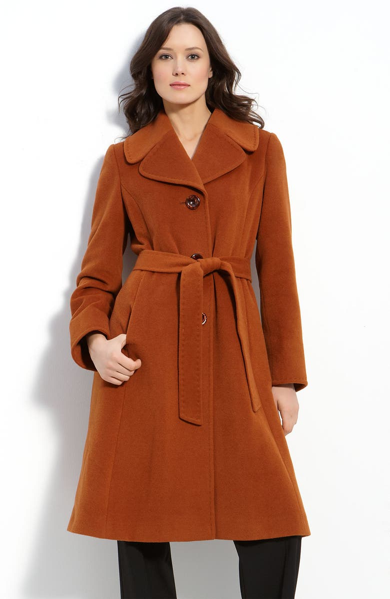 ELLEN TRACY Belted Notched Collar Coat, Main, color, RUST