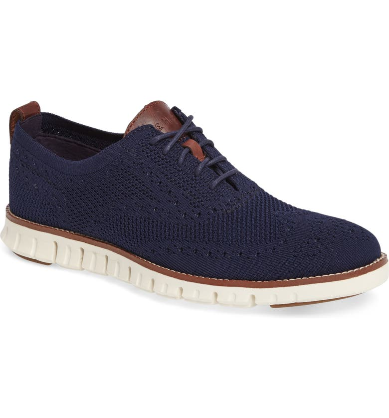COLE HAAN ZeroGrand Stitch-lite Wingtip Oxford, Main, color, MARINE BLUE/ IVORY