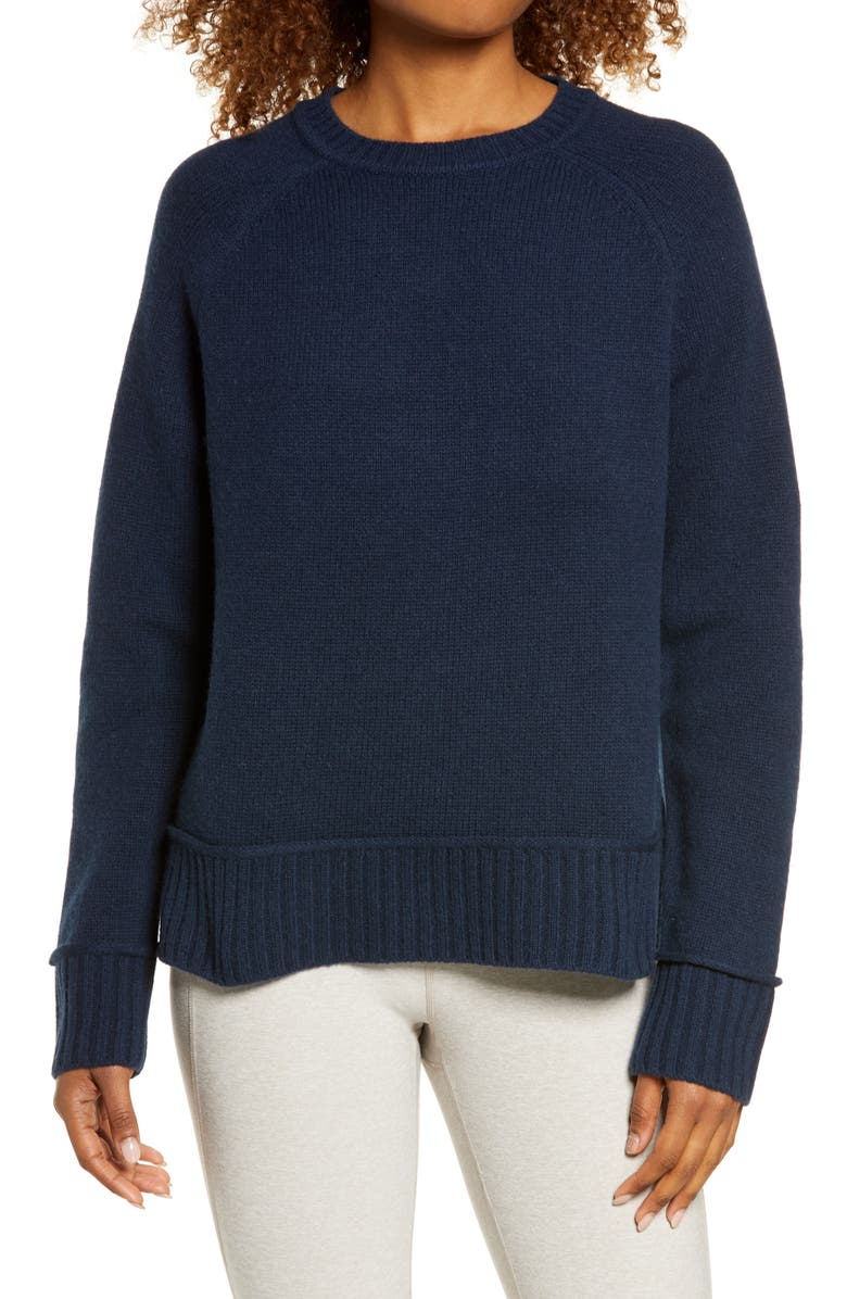 SWEATY BETTY Elevate Wool Blend Sweater, Main, color, NAVY BLUE
