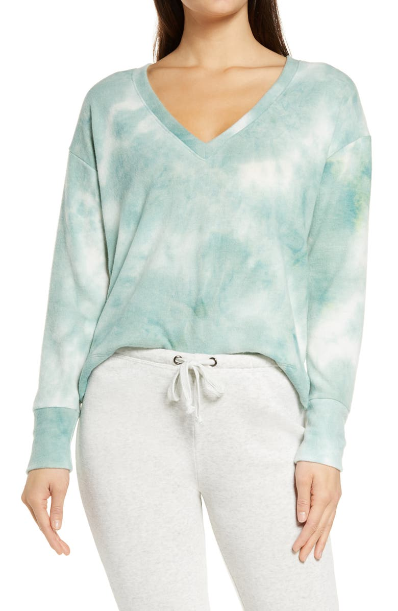 SOCIALITE Lounge Sweatshirt, Main, color, GREEN TIE DYE