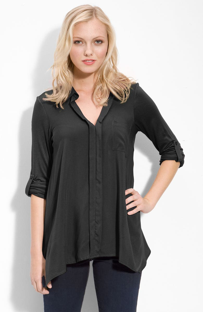 PLEIONE Split Neck Roll Sleeve Mixed Media Top, Main, color, 006