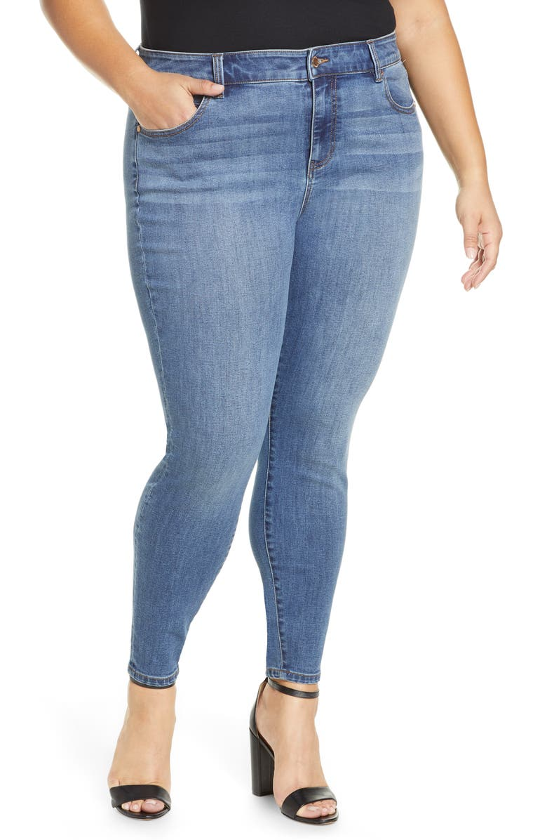 LIVERPOOL Abby High Waist Ankle Skinny Jeans, Main, color, LAINE