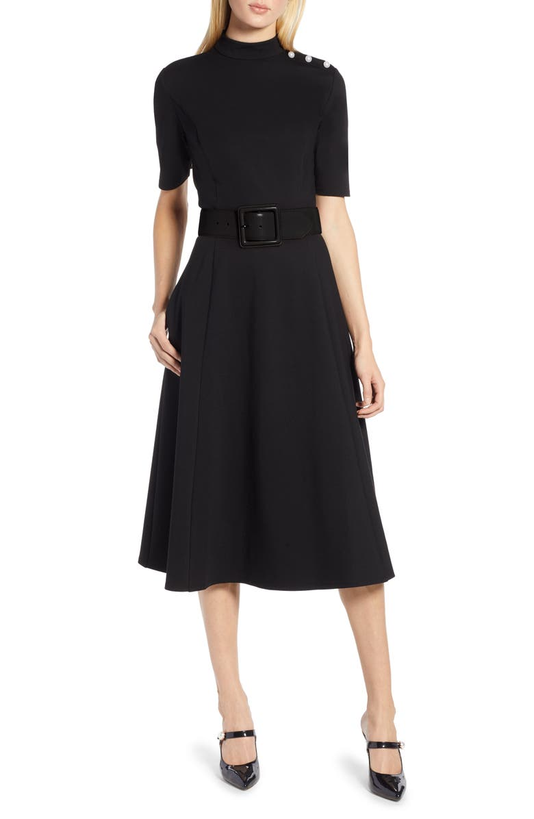 HALOGEN<SUP>®</SUP> x Atlantic-Pacific Stretch Ponte Dress, Main, color, 001