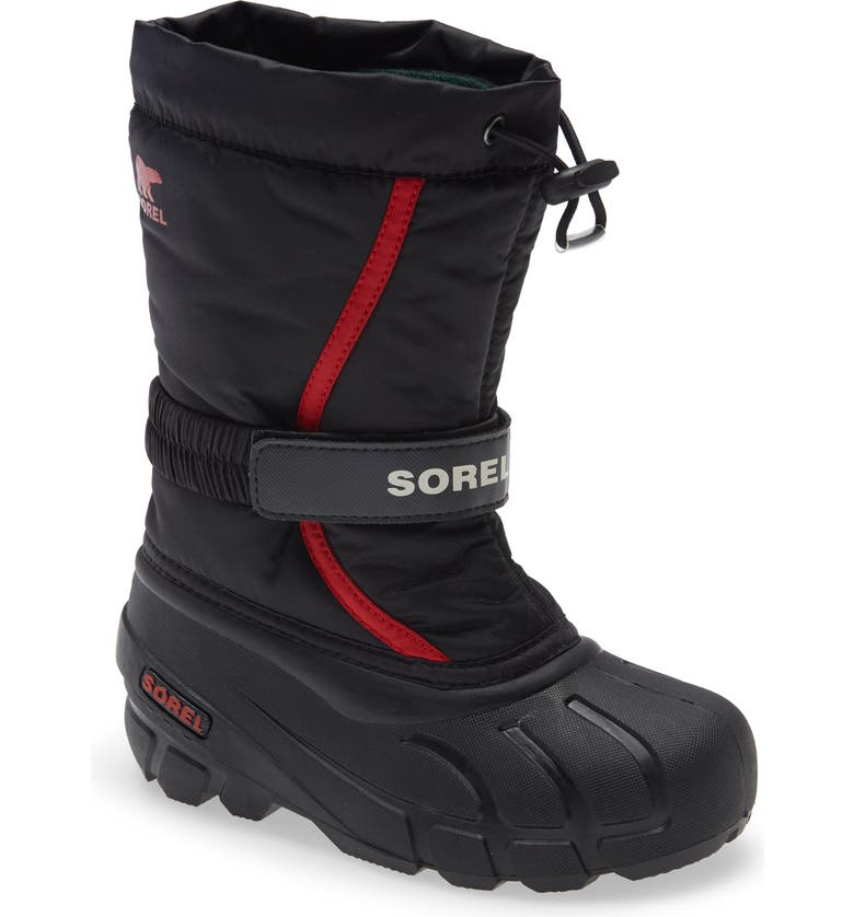 SOREL Flurry Weather Resistant Snow Boot, Main, color, BLACK/ BRIGHT RED MULTI