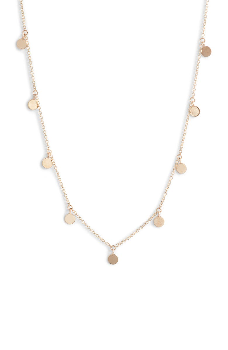 ZOË CHICCO Itty Bitty Disc Necklace, Main, color, Gold