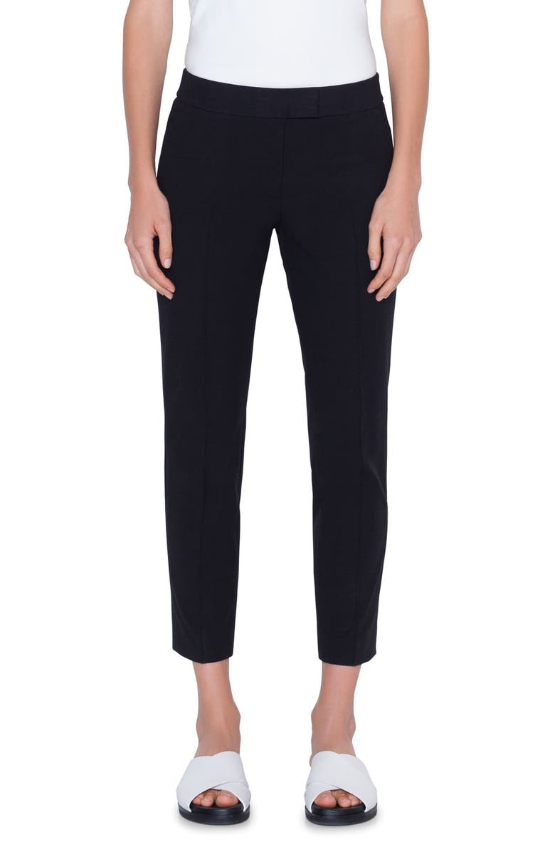 AKRIS PUNTO Frankie Stretch Cotton Pants, Main, color, BLACK