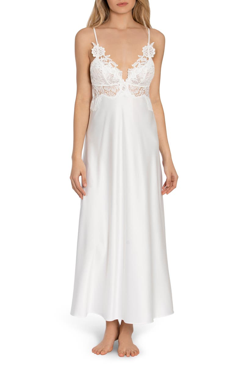 JONQUIL Lace Trim Satin Maxi Nightgown, Main, color, IVORY