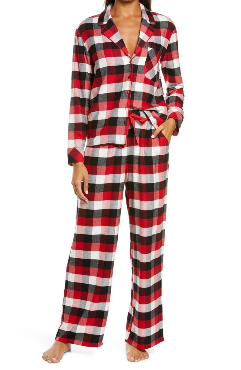 NORDSTROM Flannel Pajamas, Main, color, RED CHILI AUGUST CHECK