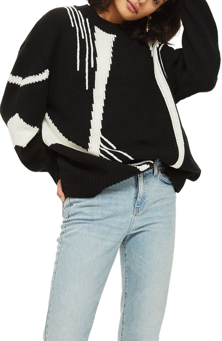 TOPSHOP Abstract Print Oversize Sweater, Main, color, BLACK MULTI