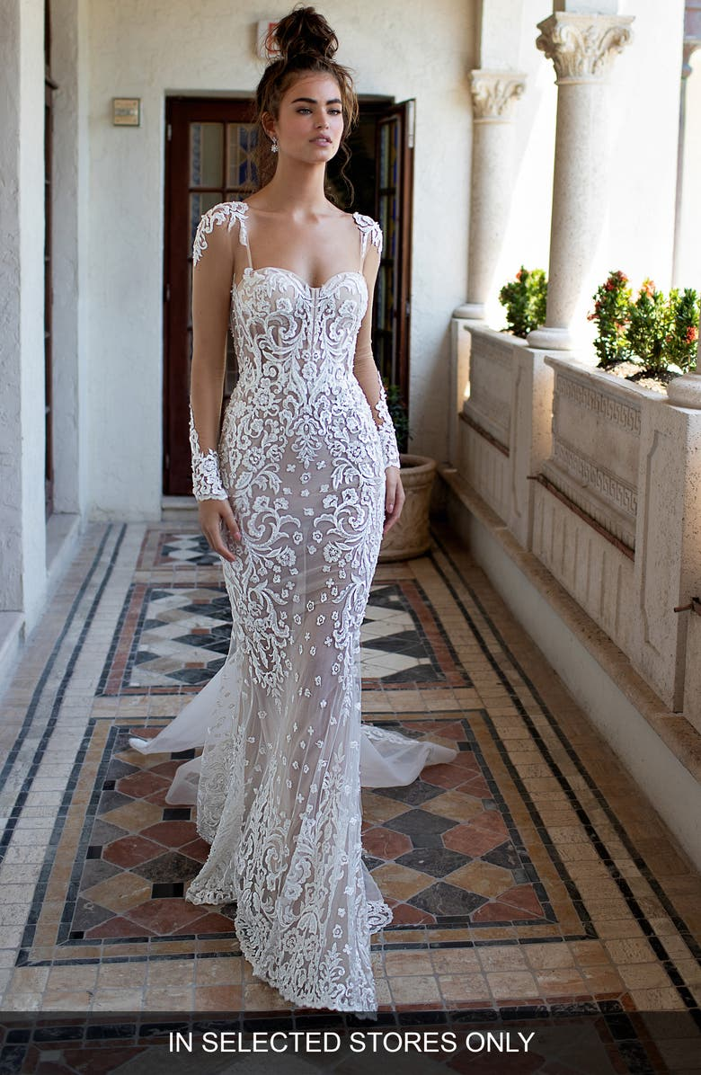 BERTA Illusion Long Sleeve Embroidered Trumpet Wedding Dress, Main, color, IVORY