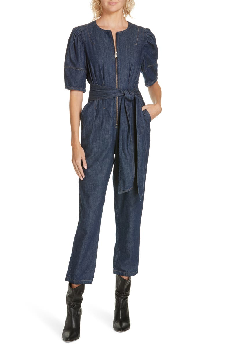LA VIE REBECCA TAYLOR Puff Sleeve Denim Jumpsuit, Main, color, 400