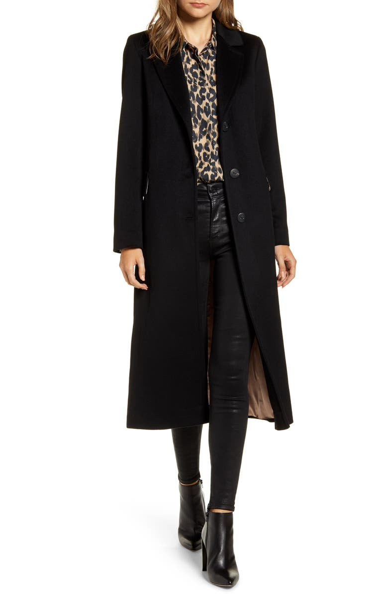FLEURETTE Notch Collar Wool Maxi Coat, Main, color, 001