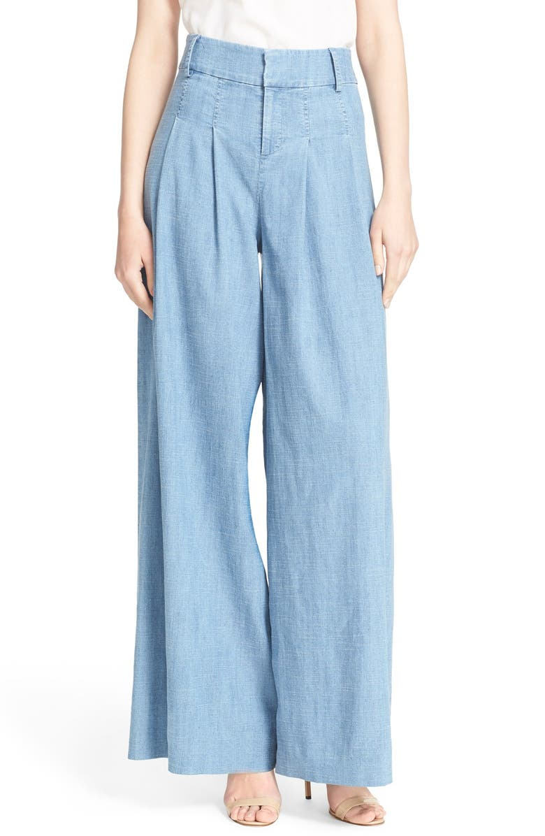 ALICE + OLIVIA 'Trudie' Wide Leg Chambray Pants, Main, color, CHAMBRAY