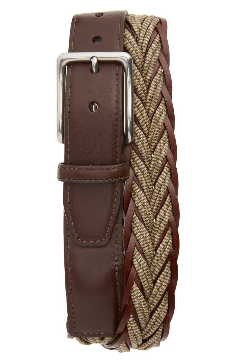 TORINO Braided Cotton & Leather Belt, Main, color, CAMEL/ BROWN