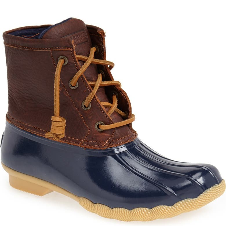 SPERRY Saltwater Duck Boot, Main, color, TAN/ NAVY