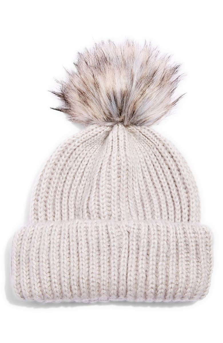 TOPSHOP Faux Fur Pompom Beanie, Main, color, 050