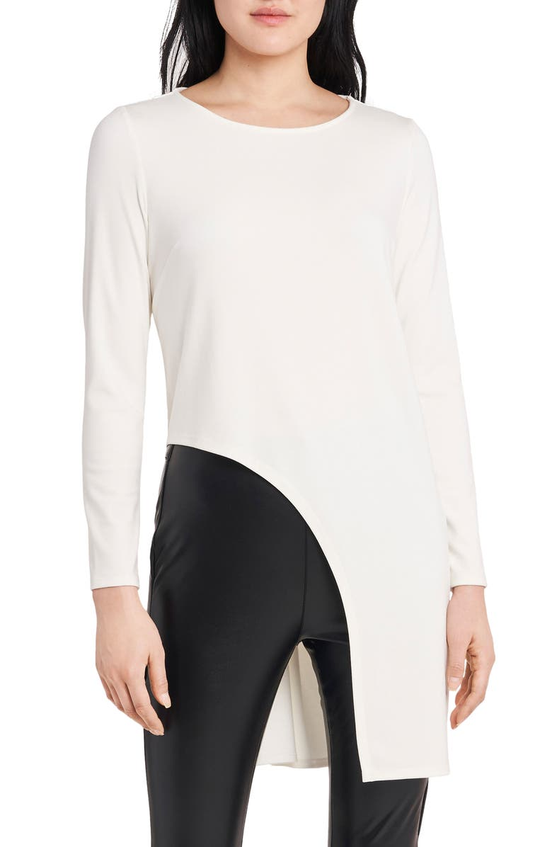 VINCE CAMUTO High/Low Cutout Long Sleeve Tunic, Main, color, IVORY