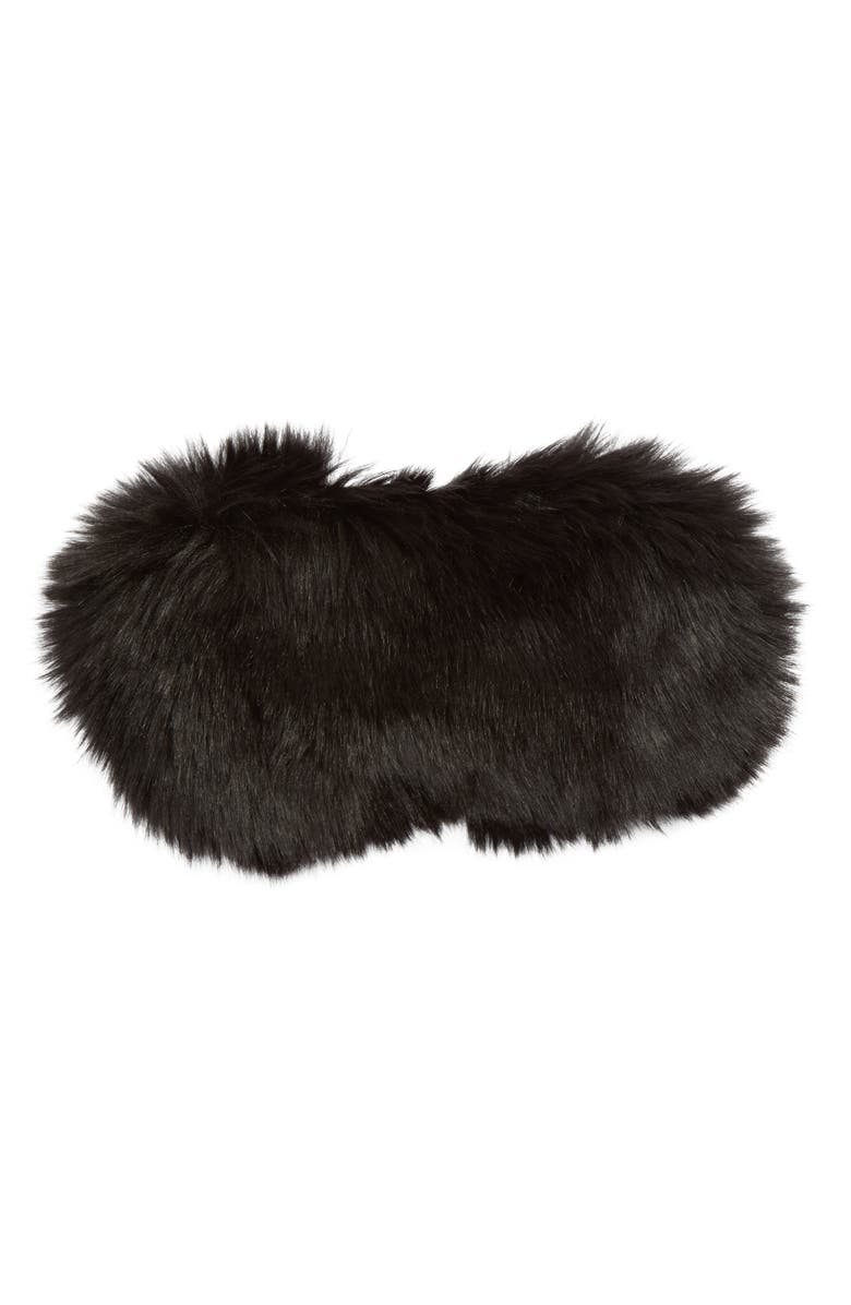 NORDSTROM LINGERIE Nordstrom Faux Fur Eye Mask, Main, color, 001