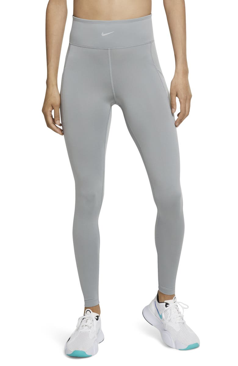 NIKE Pro Luxe Ankle Tights, Main, color, PARTICLE GREY/ METALLIC SILVER