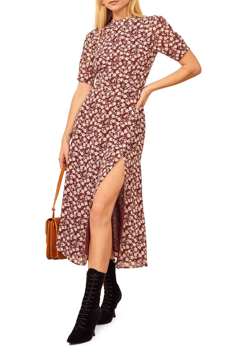 REFORMATION Gio Ditsy Floral Midi Dress, Main, color, 600